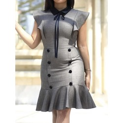 Polo Neck Knee-Length Button Summer Women's Dress