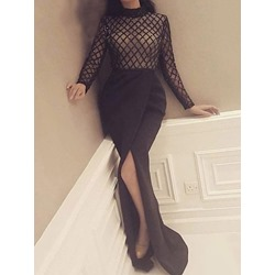 Patchwork Stand Collar Long Sleeve Dress Women's Dress
