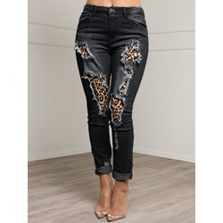 Hole Pencil Pants Leopard Slim Women's Jeans
