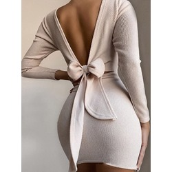 Above Knee Long Sleeve Lace-Up Sexy Women's Dress
