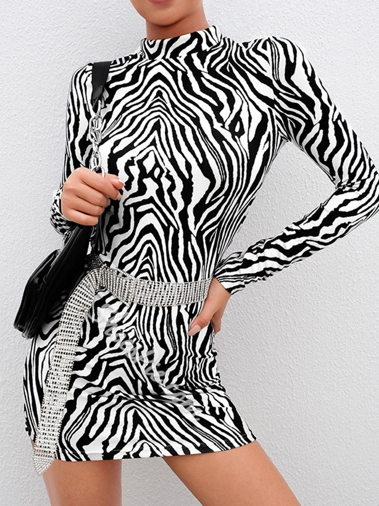 Long Sleeve Stand Collar Print Bodycon Women's Dress