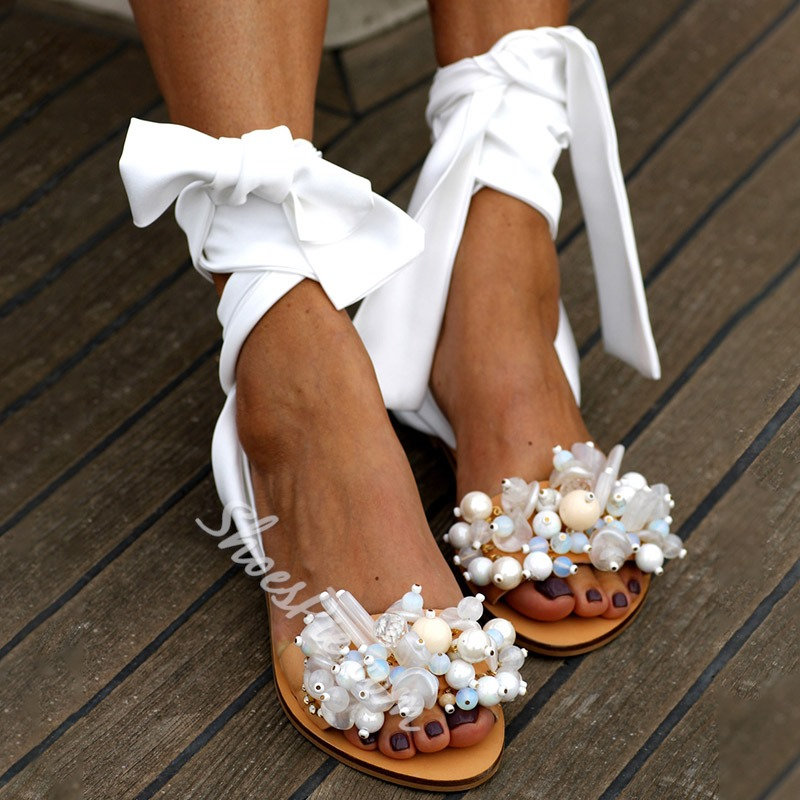 Shoespie Stylish Open Toe Flat With Lace-Up Casual Sandals