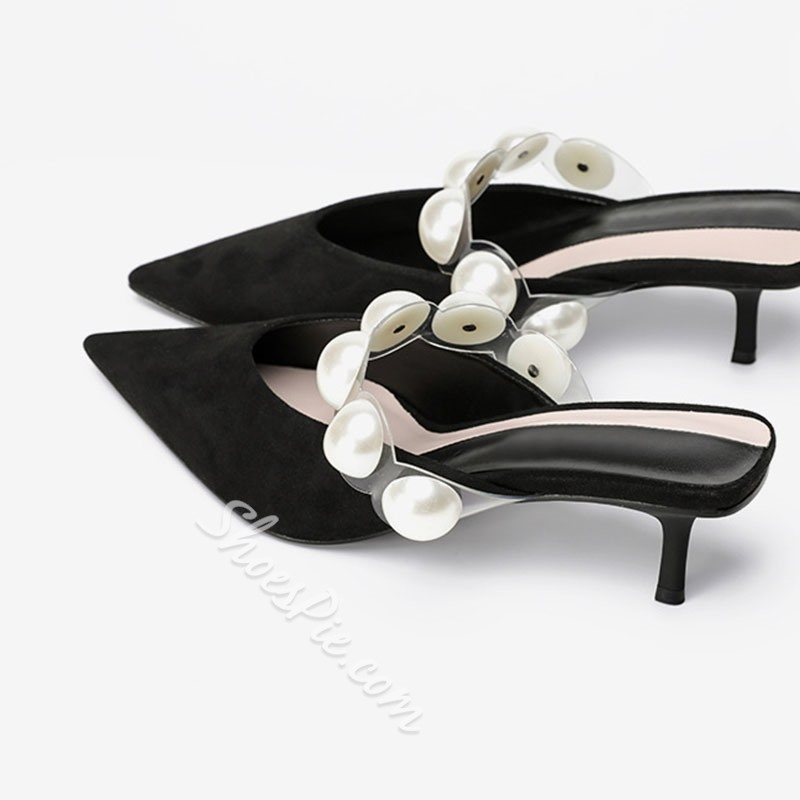 Shoespie Stylish Beads Slip-On Closed Toe Patchwork Slippers