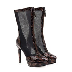 Shoespie Sexy Patchwork Pointed Toe Front Zipper PU Boots