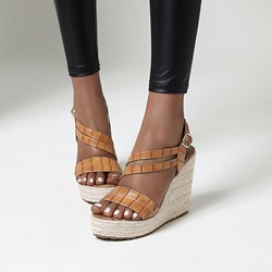 Shoespie Sexy Open Toe Wedge Heel Buckle Low-Cut Upper Sandals