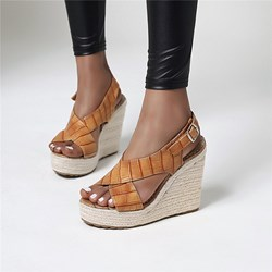 Shoespie Stylish Open Toe Wedge Heel Slip-On Low-Cut Upper Sandals