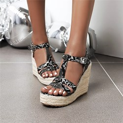 Shoespie Sexy T-Shaped Buckle Wedge Heel Open Toe Thread Sandals