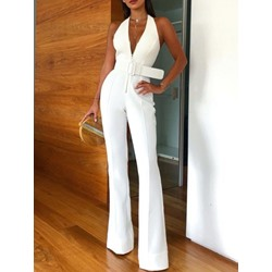 Full Length Sexy Office Lady Plain Slim Women's Jumpsuit