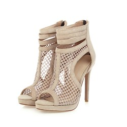 Shoespie Trendy Plain Peep Toe Stiletto Heel Mesh Boots