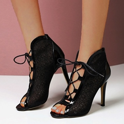 Shoespie Sexy Peep Toe Patchwork Stiletto Heel PU Boots