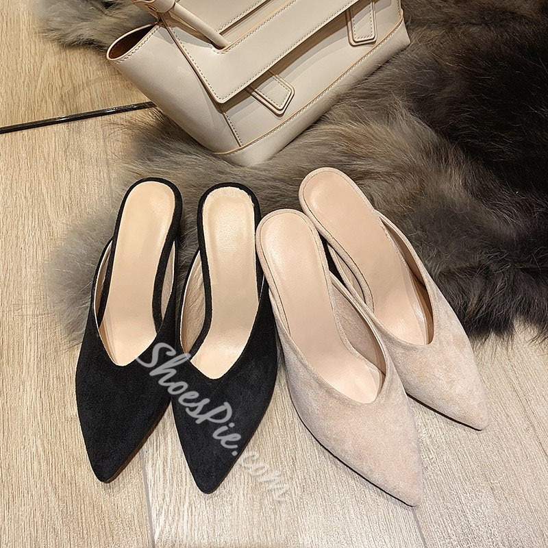 Shoespie Stylish Chunky Heel Closed Toe Slip-On Plain Slippers