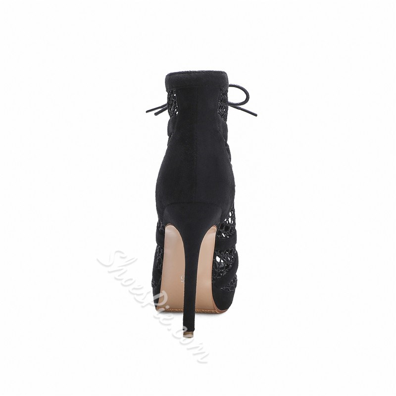 Shoespie Sexy Stiletto Heel Lace-Up Front Peep Toe PU Boots