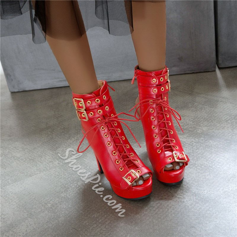 Shoespie Sexy Chunky Heel Lace-Up Front Plain PU Boots
