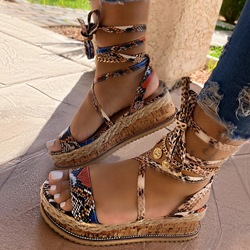Shoespie Stylish Platform Lace-Up Open Toe Platform Sandals