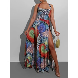 Sleeveless Backless Print Floor-Length Summer Women's Dress