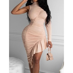 Pleated Mid-Calf Stand Collar Mid Waist Women's Dress