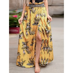Floral Print Floor-Length Travel Look Women's Skirt
