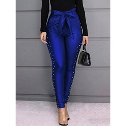 Skinny Plain Lace-Up Pencil Pants Women's Casual Pants