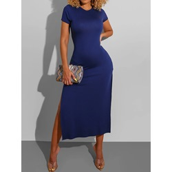 Round Neck Split Short Sleeve Mid Waist Women's Dress
