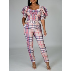 Plaid Full Length Print Slim Women's Jumpsuit