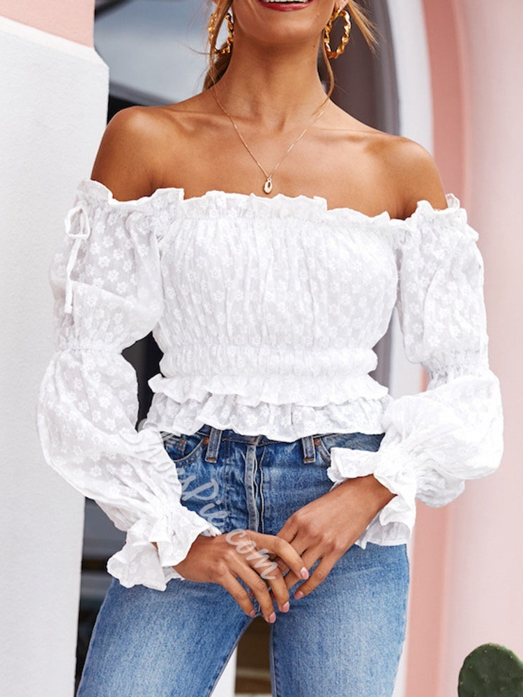 Off Shoulder Plain Short Women's Blouse