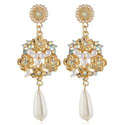 Floral Sweet Pearl Inlaid Wedding Earrings