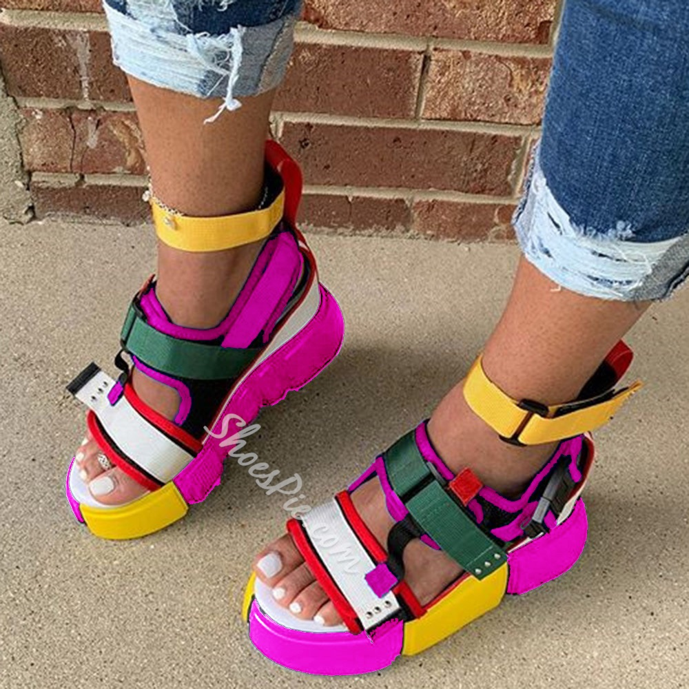 Shoespie Sexy Platform Open Toe Velcro Color Block Sandals