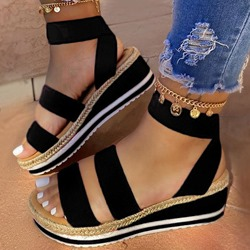 Shoespie Stylish Open Toe Elastic Band Ankle Strap Plain Sandals