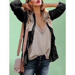 Notched Lapel Plain Long Sleeve Mid-Length Women's Casual Blazer