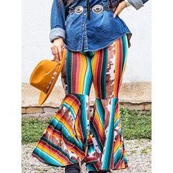 Loose Print Stripe Full Length Women's Casual Pants