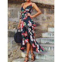 Sleeveless Ankle-Length Asymmetric High Waist Women's Dress