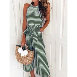 Casual Mid-Calf Stripe Loose Women's Jumpsuit