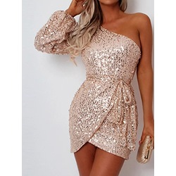 Above Knee Sequins Oblique Collar Pullover Women's Dress