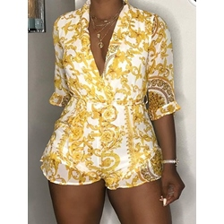 Shorts Travel Look Print Loose Women's Jumpsuit