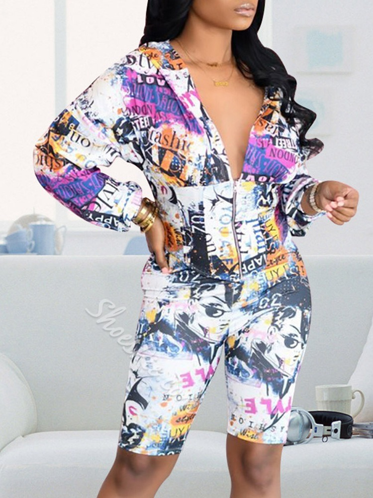 Color Block Print Western Straight Women's Two Piece Sets