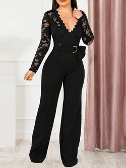 Western Patchwork Full Length Loose Women's Jumpsuit
