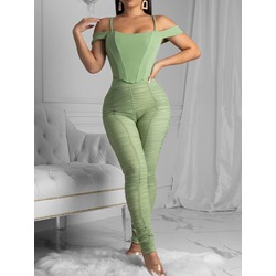 Pleated Plain T-Shirt Pencil Pants Women's Two Piece Sets