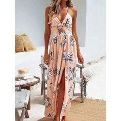 V-Neck Print Ankle-Length High Waist Women's Dress