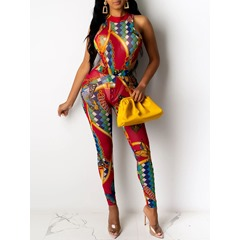 Print Jumpsuit Western Pullover Women's Two Piece Sets