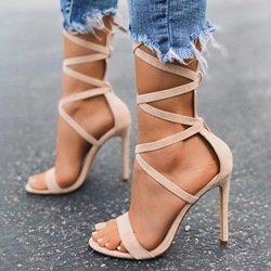 Shoespie Trendy Open Toe Ankle Strap Stiletto Heel Plain Sandals