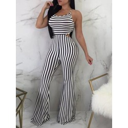 Sexy Full Length Stripe Bellbottoms Women's Jumpsuit