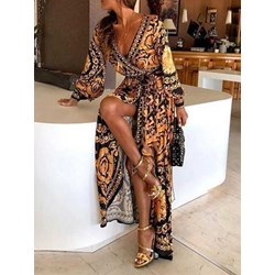 Floor-Length Long Sleeve Print Women's Maxi Dress