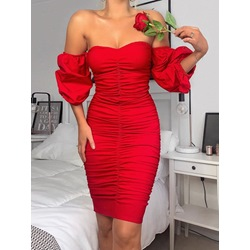 Three-Quarter Sleeve Pleated Off Shoulder Summer Women's Dress