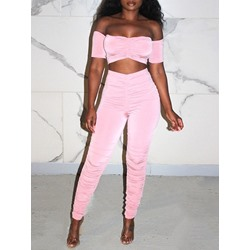 Plain Western Pants Pencil Pants Women's Two Piece Sets