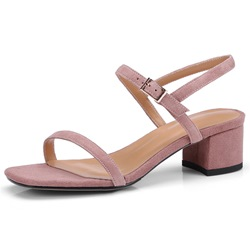 Shoespie Stylish Block Heel Buckle Square Toe Plain Sandals