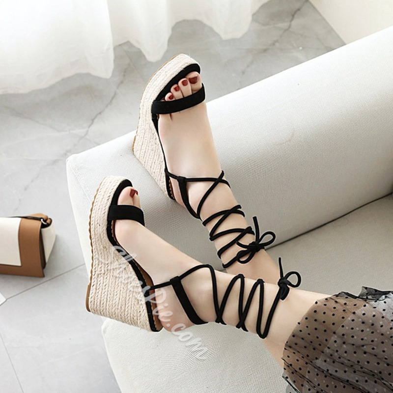 Shoespie Stylish Lace-Up Ankle Strap Wedge Heel Platform Sandals