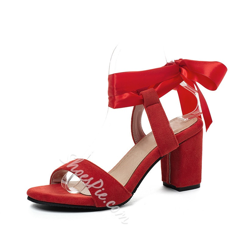 Shoespie Stylish Lace-Up Chunky Heel Open Toe Cross Strap Sandals