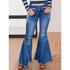 Plain Falbala Bellbottoms Slim Women's Jeans