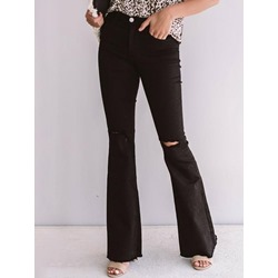 Plain Hole Slim Full Length Women's Casual Pants