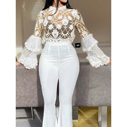 Patchwork Ruffle Sleeve Stand Collar Long Sleeve Women's Blouse